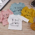 Números de Impressão Meninos Meninas T-shirts de Algodão camiseta de Manga Longa Crianças Moda de Alta Qualidade Crianças Marca Casual Tees Tops YA322
