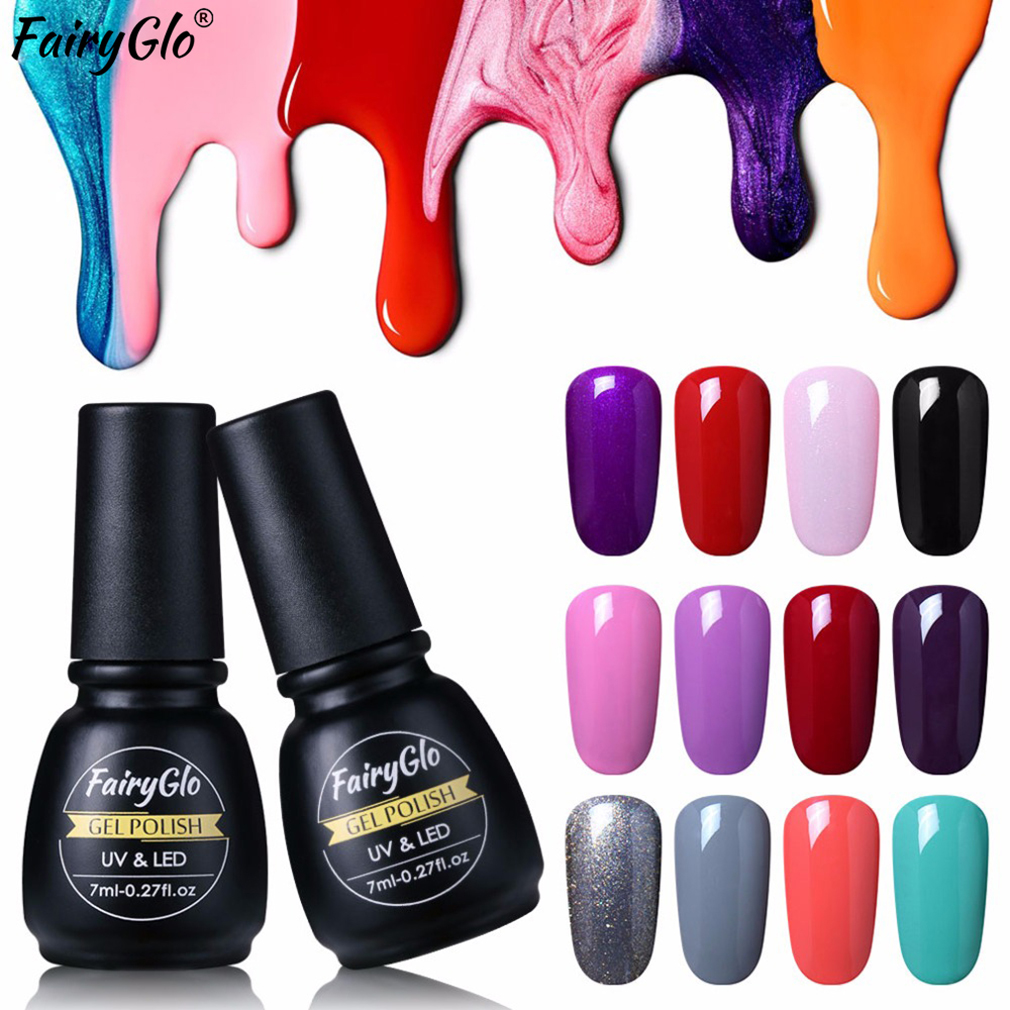 FairyGl Nail Gel Pure Color 7ml UV LED Gel Varnish Long Last Soak Off Semi Permanent Lucky Lacquer Stamping Paint Gellak Enamel