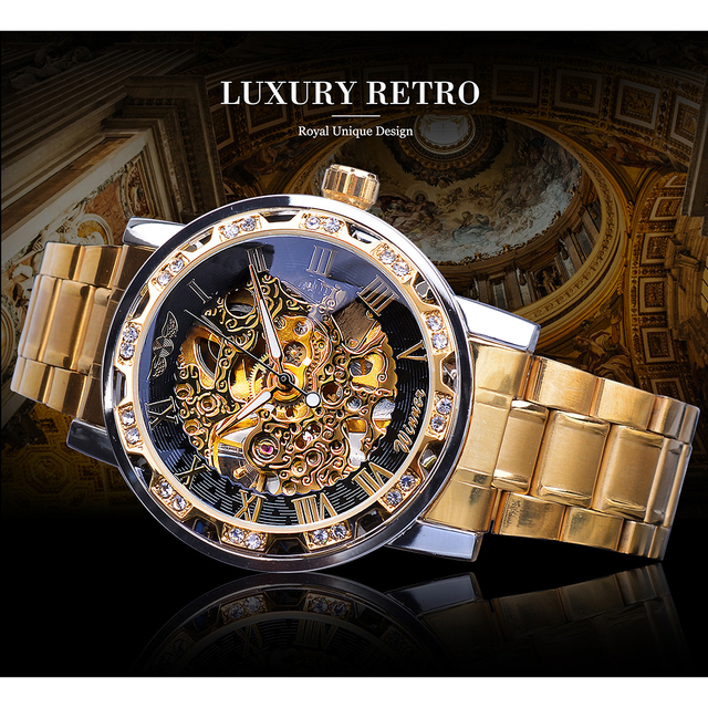 Winner Golden Watches Classic Rhinestone Clock Roman Analog Male Skeleton Clocks Mechanical Stainless Steel Band Luminous Watch 2