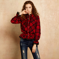 Artka 2018 Autumn & Winter Black and white plaid Ruffles sleeves stand collar 100% cotton Vintage Stripe TshirtSA10276Q