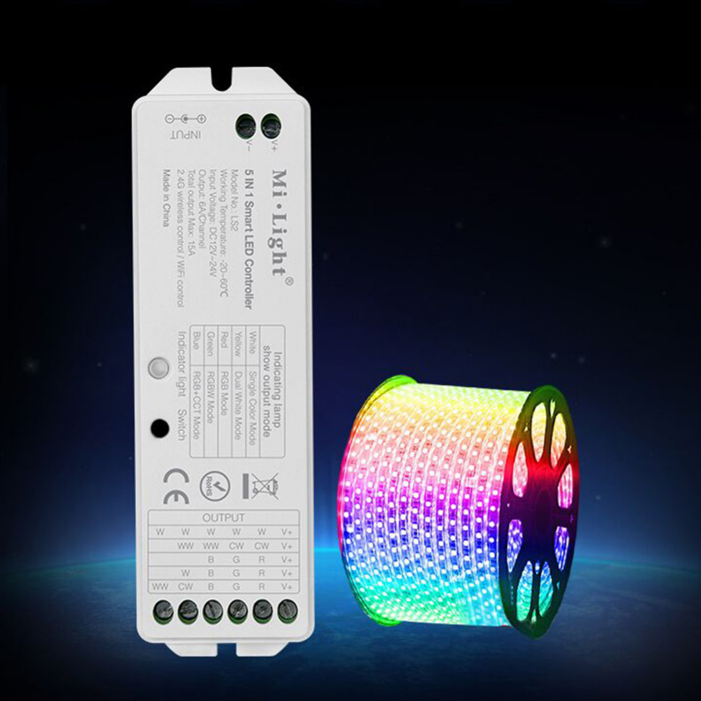 LAIDEYI 2.4G Wireless MiLight 5-In-1 Smart <font><b>LED</b></font> Light Strip Light Bar Controller For RGB <font><b>RGBW</b></font> RGB+CCT DC12-<font><b>24V</b></font> RGB Controller image