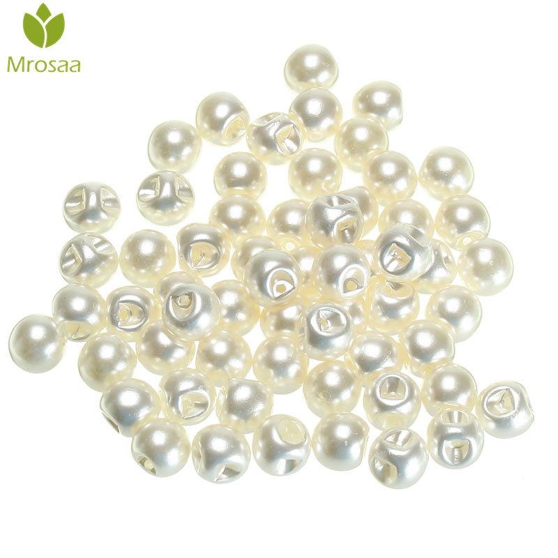 Mrosaa 60Pcs 10mm Round Sewing Buttons Pearl Round button for Clothing DIY Sewing Women Baby Clothing Scrapbooking DIY Material