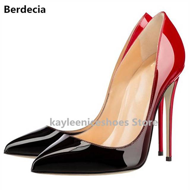 2e4e96101 Berdecia Brand Red Women Shoes High Heels Mixed Color Wedding Shoes Black  Nude Pumps Zapatos Mujers 12/10cm Sexy Femme Shoes