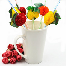 50pcs/ lot Cute 3D Fruit Cocktail Paper Drinking Straws Kids Birthday/Wedding/Pool/Baby Party Decoration Supplies