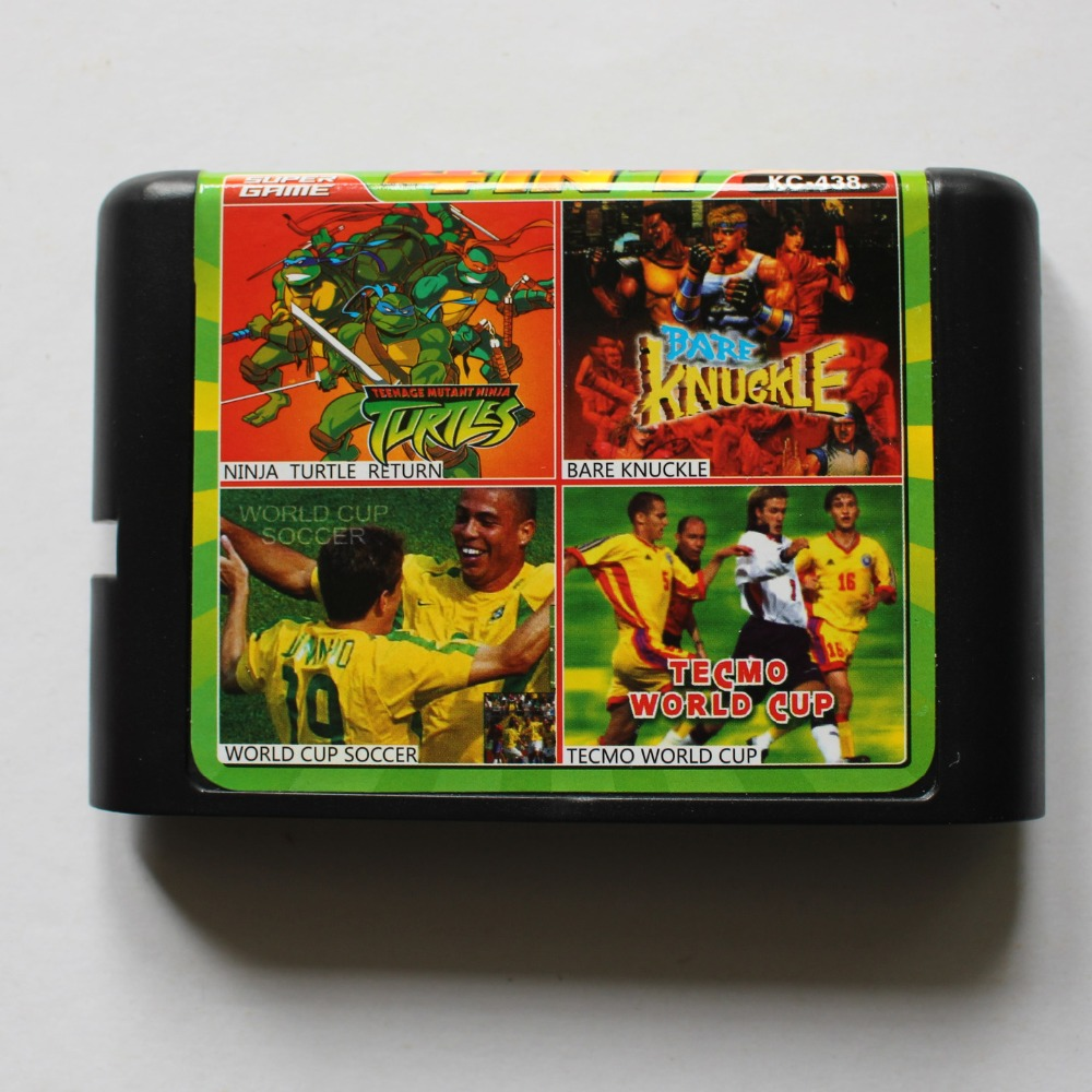 Ninja Turtles/ Bare Knuckle/ World Cup Soccer/ Tecmo WorldCup 16 bit MD Game Card For Sega 16bit Game Player image