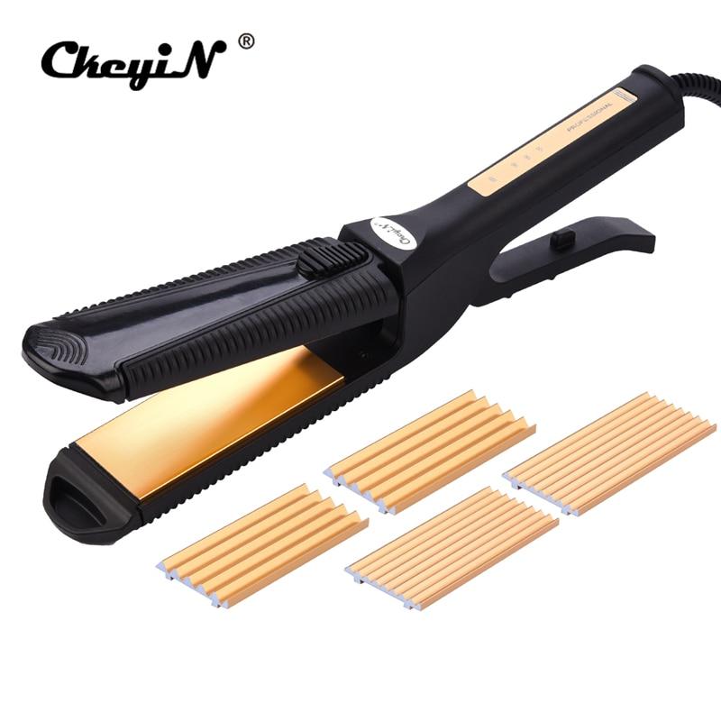 CkeyiN Interchangeable 3 in 1 Titanium Plate Hair Crimper Straightener Corn Waver Corrugated Curling Iron Temperature Control