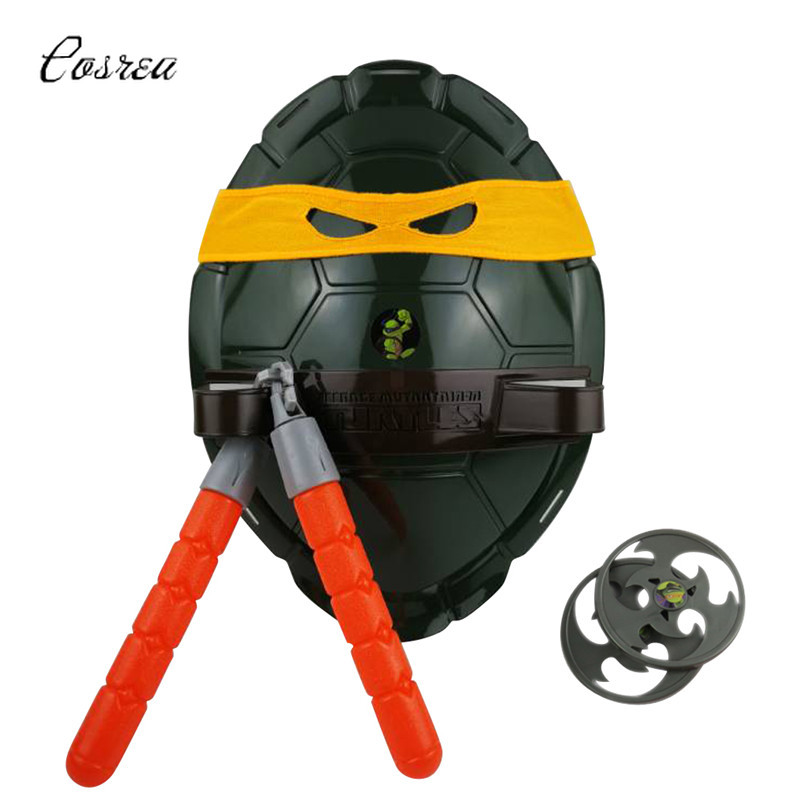 Costume Ninja Teenage Mutant Turtles Ninja Shell Prop Kids Mask Weapons Set Cosplay Leonardo Raphael Mike Gift Party for Boy
