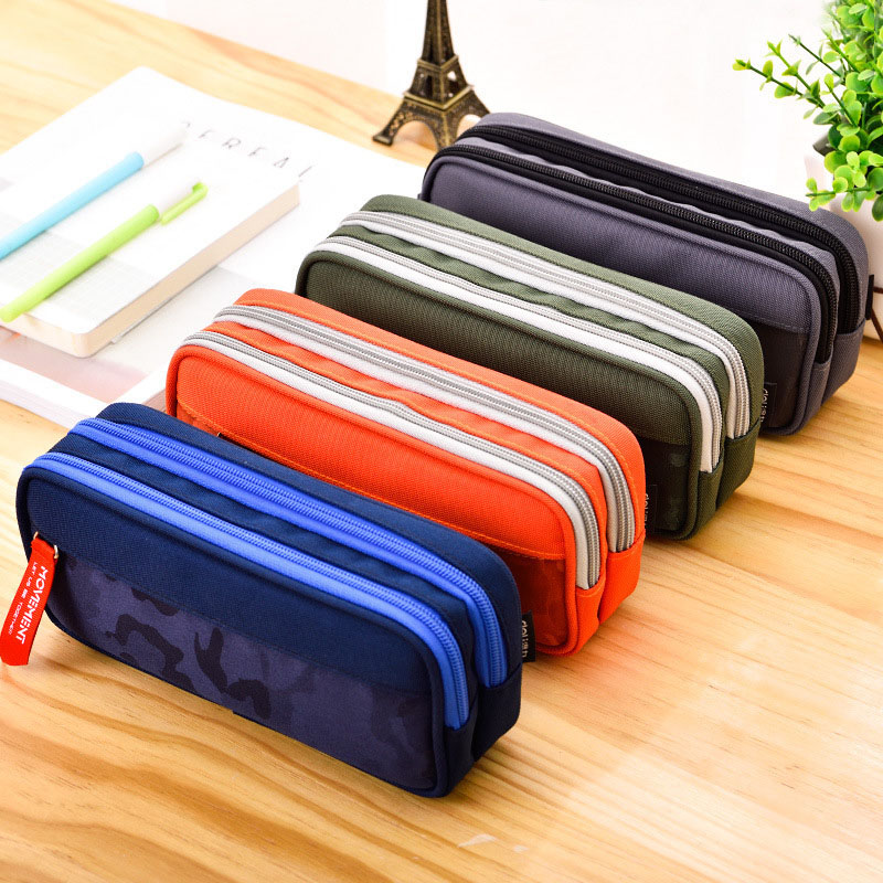 Pencil Case Large Capacity Camouflage Pencilcase Nylon Canvas Double Zipper Pen Bag For Boys Kids Gift Office School Supplies