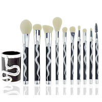 7 10pc Snake Shape Makeup Brushes Set Foundation Powder Eyeshadow Contour Concealer Blush Comestic Brush Kit