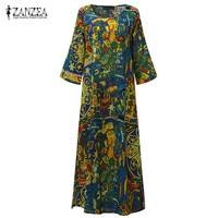 2017 ZANZEA Vintage Random Floral Print Women 3 4 Sleeve Pockets Autumn Loose Casual Party Midi