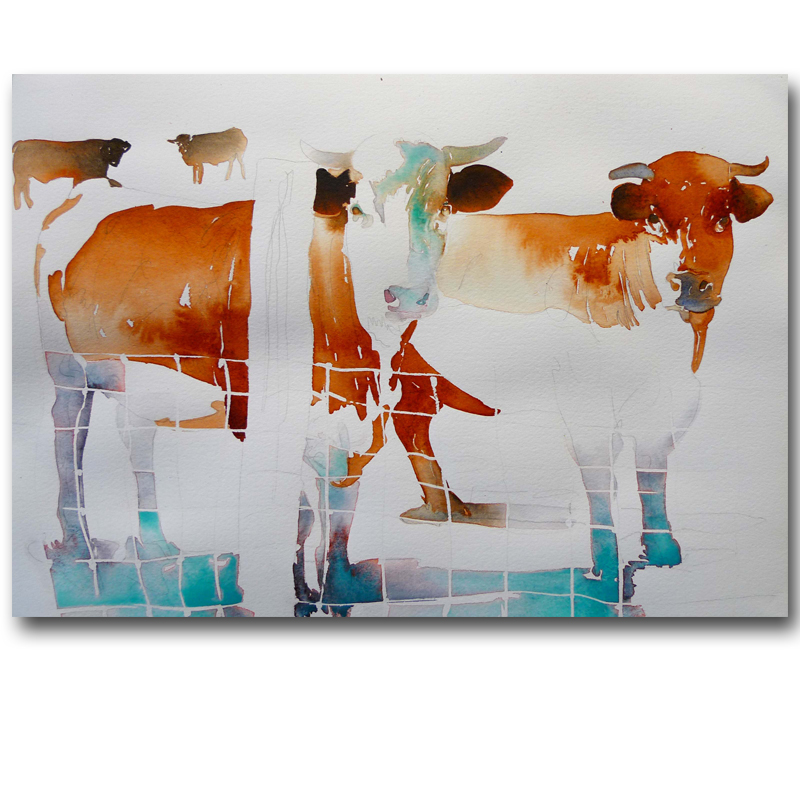 Frameless Pictures Abstract Cow Oil Painting Canvas Printing Watercolor Animal Cows Painting Wall Home Decor For