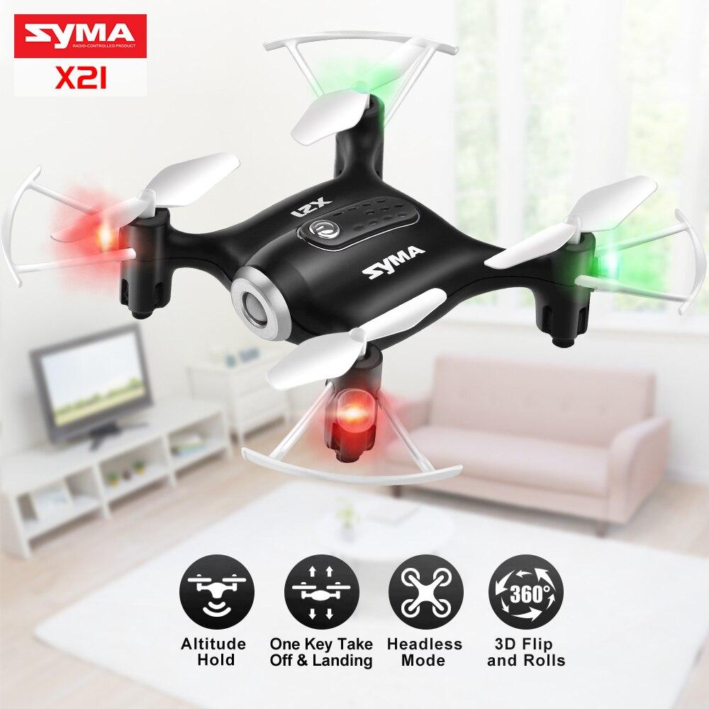 Original Syma X21 Mini poche Drone Quacopter RC hélicoptère 4CH 2.4G 6-aixs Gyro RC Drones sans tête Mode jouets pour enfants garçons