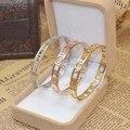 Delicate oco algarismos romanos bangles & pulseiras de aço de titânio jóias finas para womenn carter presente vácuo chapeamento de ouro bangle