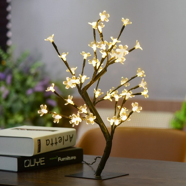 1X Crystal Cherry Blossom 48-LED Tree Light Night Lights Table Lamp Luminarias Christmas Decoration Luz De LED 45CM Night light