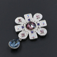 Elegant Rhodium Plated Flower Brooches With Water Drop Austrian Crystal Full Rhinestone Broches Scarf Pin Accessories