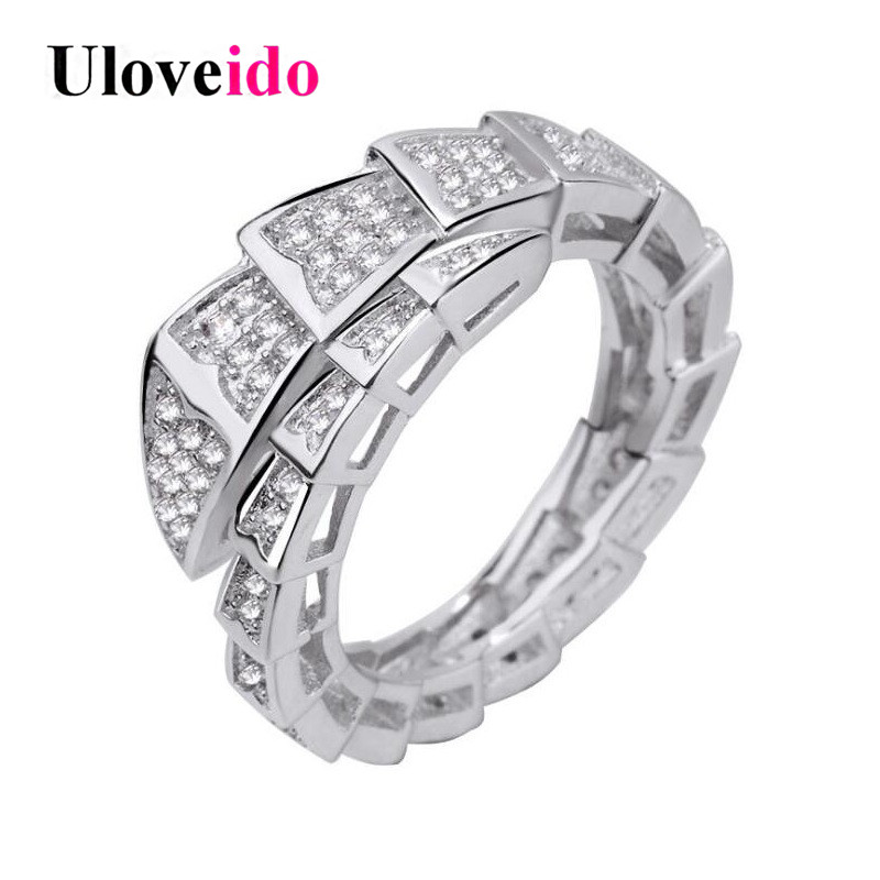 Uloveido Snake Rings for Women Silver Color Anime Resizable Ring Female Jewelry Party Ri ...