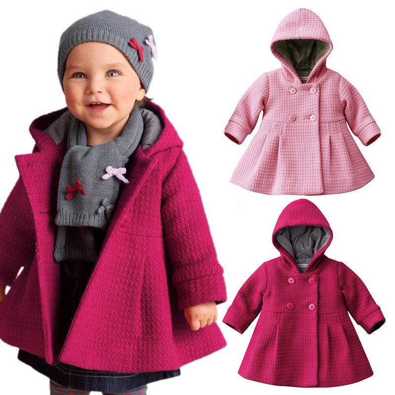 Aliexpress.com : Buy Baby Girl Toddler Warm Fleece Winter Pea Coat ...