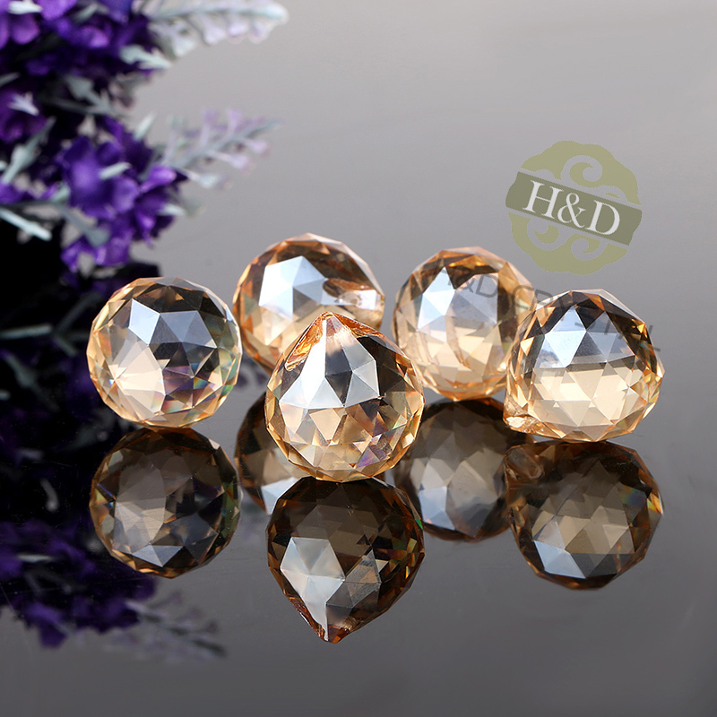 5X Champagne Crystal Chandelier Ball Prisms Drops Suncatcher Decor Pendant 30#