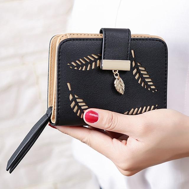 55a077f899fb5 2018 projekt damska torebka zipper skórzany portfel damski kobiety  luksusowe marka mały portfel damski Hollow liście