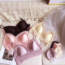 Ice Silk Two-piece Bras Briefs Sets Sexy Glossy Wire Free Padded Lace Floral Underwear Wrapped Chest