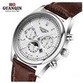 Famosa marca guanqin homens fase da lua relógio de quartzo mens designer luminosa relógios big dial couro relógio relogio masculino reloj