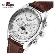 Famosa Marca GUANQIN Hombres Reloj Grande Del Dial Fase Lunar Mens Diseñador Luminoso Reloj de Cuarzo Hombres Reloj Relogio masculino reloj de Cuero