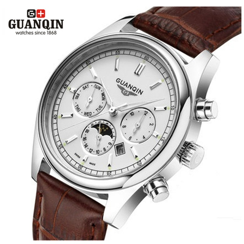 ФОТО Famous Brand GUANQIN Men Quartz Watch Moon Phase Mens Designer Luminous Watches Big Dial Leather Clock Relogio Masculino Reloj