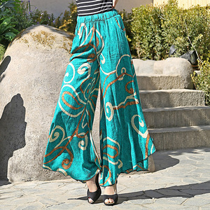 Image 4 - 2019 New women summer pants pantalon femme print vintage trousers women Mid Wide Leg Pants