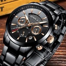Reloj de cuarzo de lujo CRRJU de marca a la moda de estilo informal para hombre, cronógrafo para hombre, reloj Masculino con fecha de 24 horas