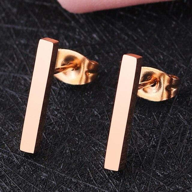 Jisensp Minimalist Rose Gold T Bar Stud Earrings for Girls Bijoux Geometric Earrings Stainless Steel Earing Wedding Jewelry Gift
