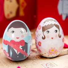 Marriage Easter Egg Painted Eggshel Tin Boxes Pills Case Wedding Candy Can Jewelry Party Accessory Iron Trinket Gift wedding(China)