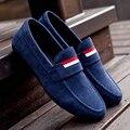 Nuevo 2016 Hombres zapatos Mocasines de Cuero Nobuck Plana Negro Mens de los holgazanes de estilo Vintage Para Hombre de Conducción zapatos mocasines dos homens