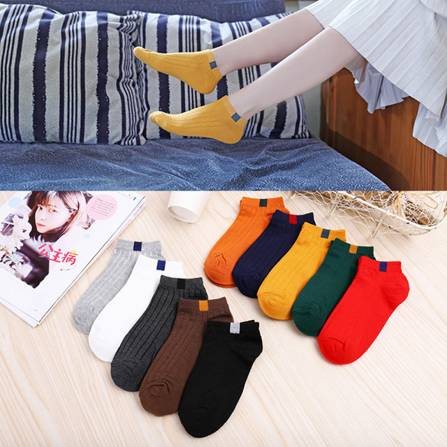 10 Pairs/set Cotton Women Short Socks Casual Summer Female Ankle Socks Solid Color Little Bear Pattern Size 35 39