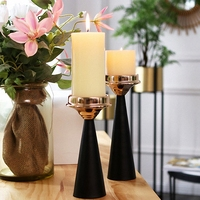 PINNY Nordic Simplicity Black Gold Candlestick Candle Holders Wedding Decorations Home Decoration Accessories Metal Candle Stand