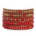 Европейский И Американский Стиль 1 Шт. Красный Нефрит Металлические Бусины 5 Wrap Браслеты Чешские Мода Манжеты Браслеты Для Лучшего Друга подарки