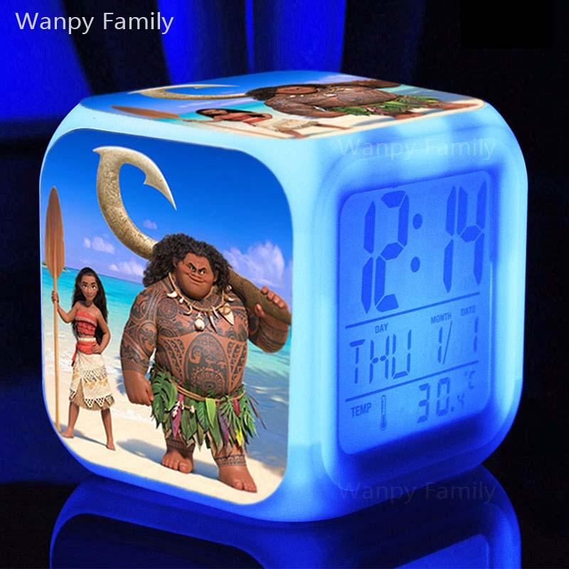Toys & Hobbies Sensible Moana Cartoon Bedside Kidsaction Figures Led Color Change Touch Light Alarm Desk Watch Anime Toys For Kids Gift Funny Toys