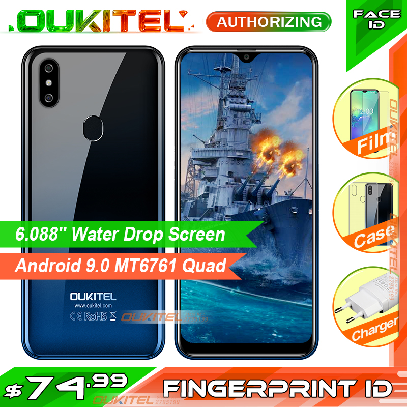 OUKITEL C15 Pro 2 GB 16 GB Android 9.0 MT6761 téléphone portable écran de chute d'eau Smartphone 4G LTE 2.4G/5G WiFi identification de visage d'empreinte digitale