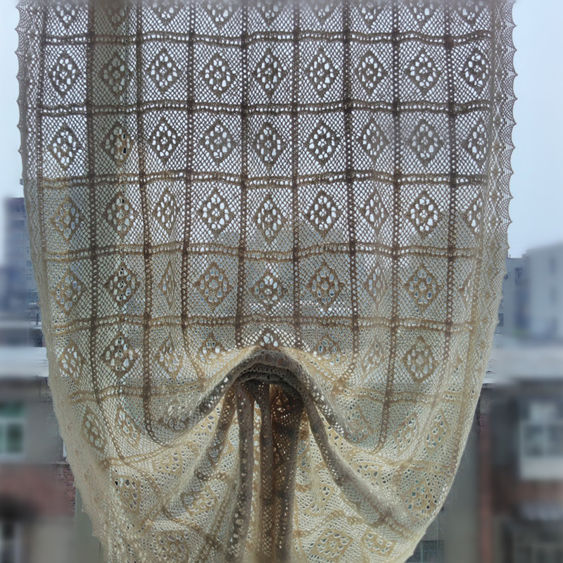 High Quality Crochet Flower Type Roman Curtain. Cotton Crochet Lace Balloon  Curtain. Pastoral Style Curtains. White And