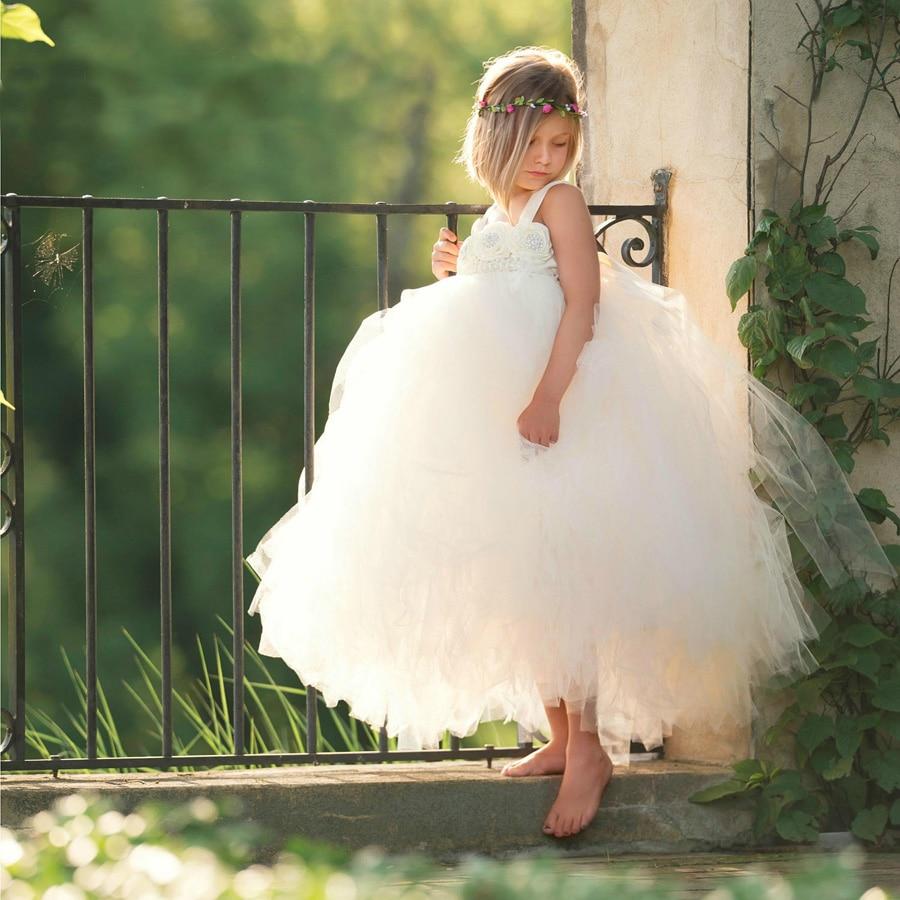 Handmade Fairy Peach Flower Girls Wedding Tutu Dress Princess Kids Ball Gown Dress for Girls Pageant Party Clothes Tulle Dress 2