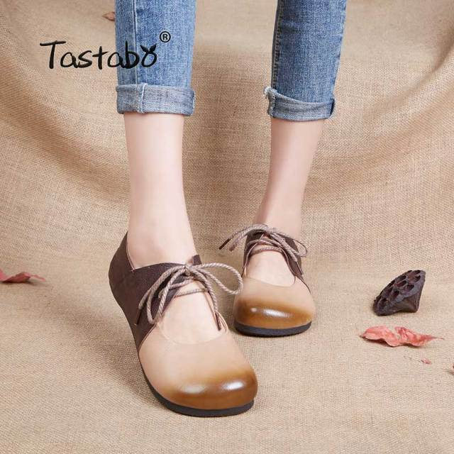 fc60d6af70 Tastabo Genuine Leather Flat Shoe Pregnant Women Shoe Mother Driving Shoe  Female Moccasins Fashion Women Flats Hand-Sewing Shoes