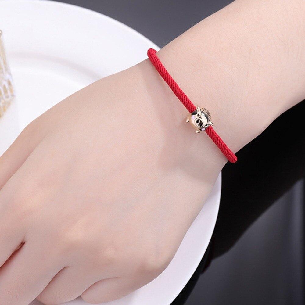 New 3d Gold Pig Pendant Bracelet Year Of Fate Red String Bracelet