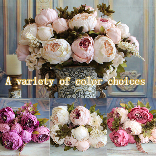 High quality artificial silk flowers european 1 bouquet fall vivid high quality artificial silk flowers european 1 bouquet fall vivid peony festival patriarch placed flower home mightylinksfo