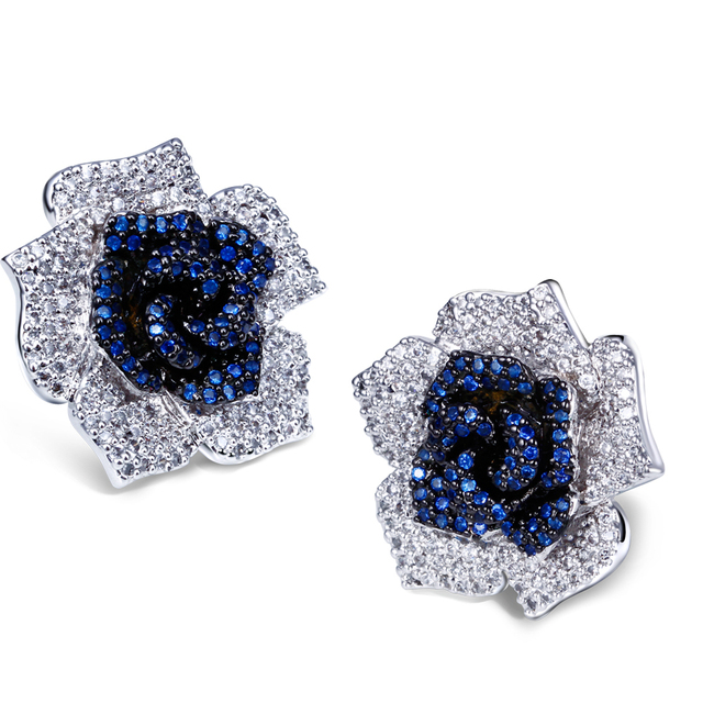 Blue crystal cubic zirconia studded rose earring pave with aaa cubic zirconia crystal colorful summer design flower Earring