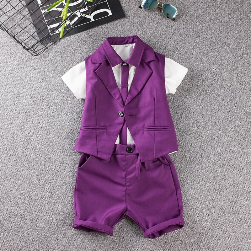 Traje infantil de verano bebé prom Sets azul/púrpura flor de la boda ...