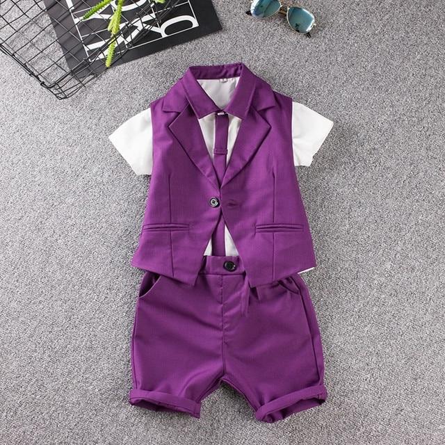 550fa28d6 child suit Summer Baby Prom Sets Blue Purple wedding Flower Boy ...