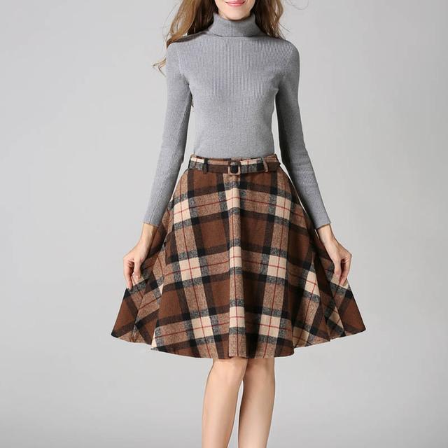 De color caqui/Verde/Rojo Faldas de Tela Escocesa de Las Mujeres 2016 Otoño Invierno Más Tamaño Falda A Cuadros Con Cinturón de Lana Ocasional A-line A Cuadros plisada Faldas