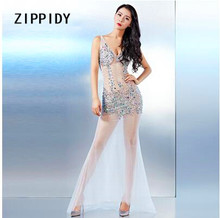 White Perspective Guaze Multicolor Rhinestones Rivets Backless Long Style Dress Nightclub Bar Party Stage Show Sexy Slim Outfit