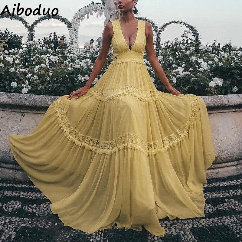 Long Beach Style Yellow Dress Women Sexy Club Party Dress Women's High Waist Summer Deep V neck Vestido Female Dresses S XL