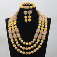 2017 18K Gold Plated Jewelry Accessories African Yellow Bride Jewellery Set Nigerian Beaded Yellow Jewelry Set