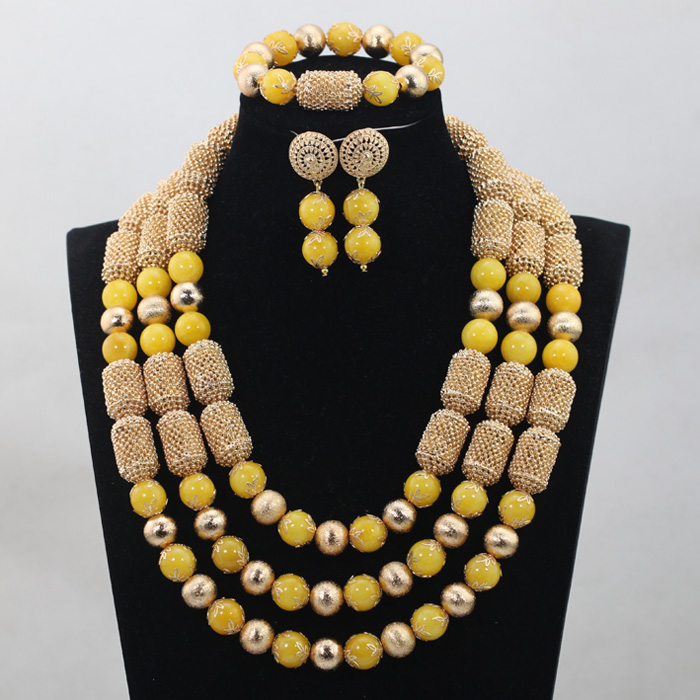 2017 Necklace Bracelet Earrings Jewelry Accessories African Yellow Bride Jewellery Set Nigerian Beaded Yellow Jewelry Set ABH1752017 Necklace Bracelet Earrings Jewelry Accessories African Yellow Bride Jewellery Set Nigerian Beaded Yellow Jewelry Set ABH175